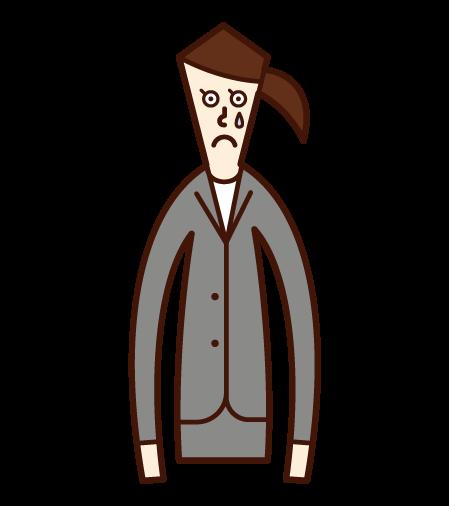 悲傷的人(穿西裝的女人)的插圖