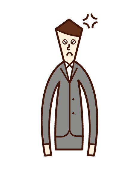 Illustration of an angry boss (man)
