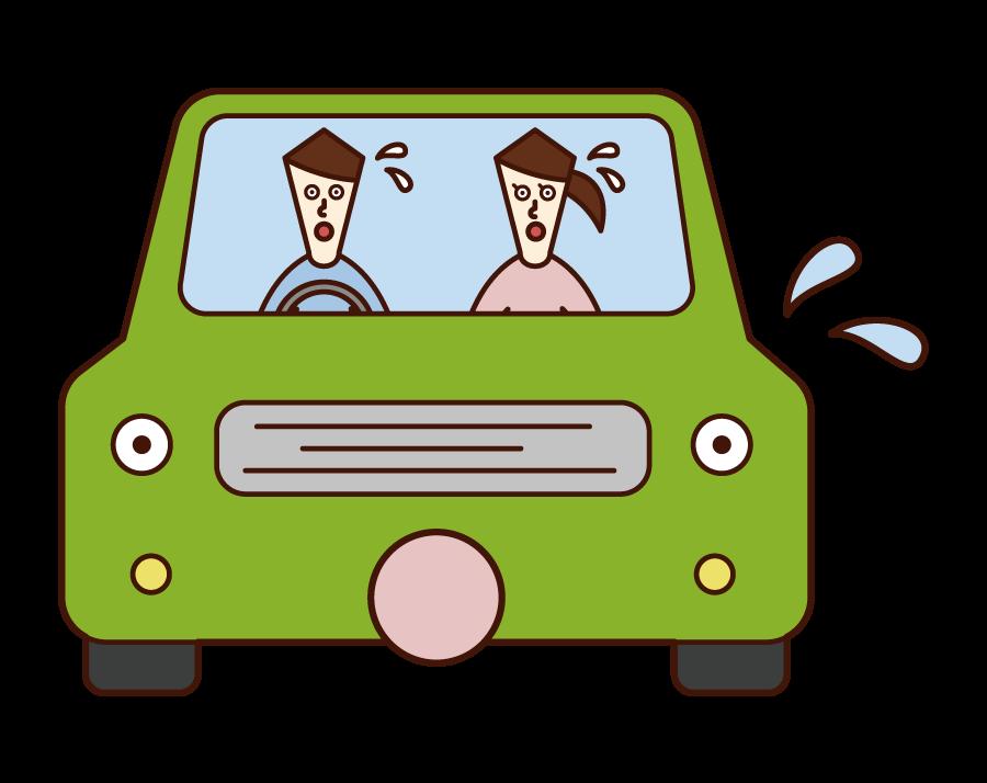 危険を察知して驚く車と運転手(カップル)のイラスト