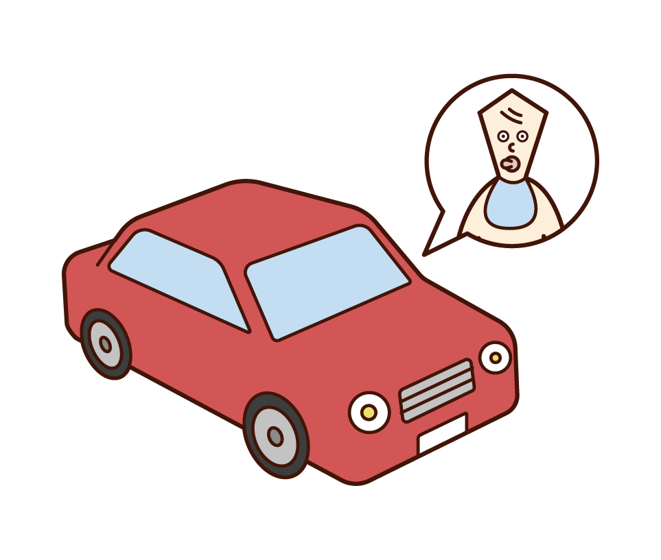 Illustration of a person (baby) in a car