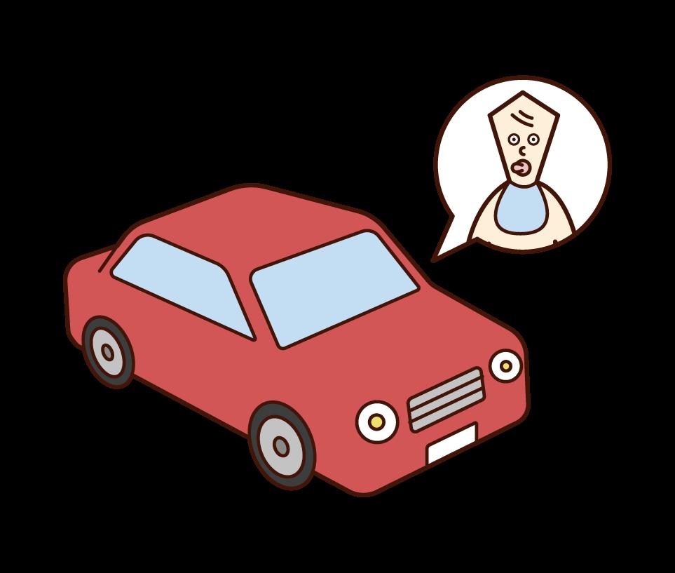 차 안에 있는 사람(아기)의 일러스트