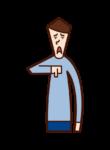 Illustration of a man who signs his thumb down (Thumb-down)