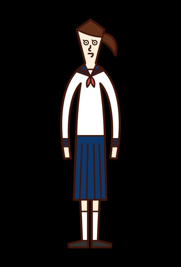 Illustration of a woman student in school uniform