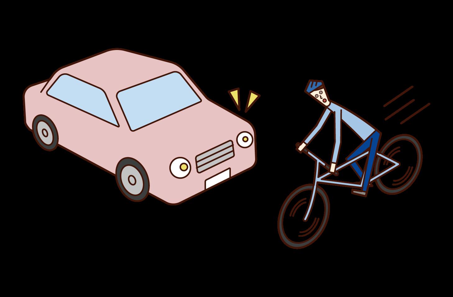 道路に飛び出す自転車(男性)のイラスト
