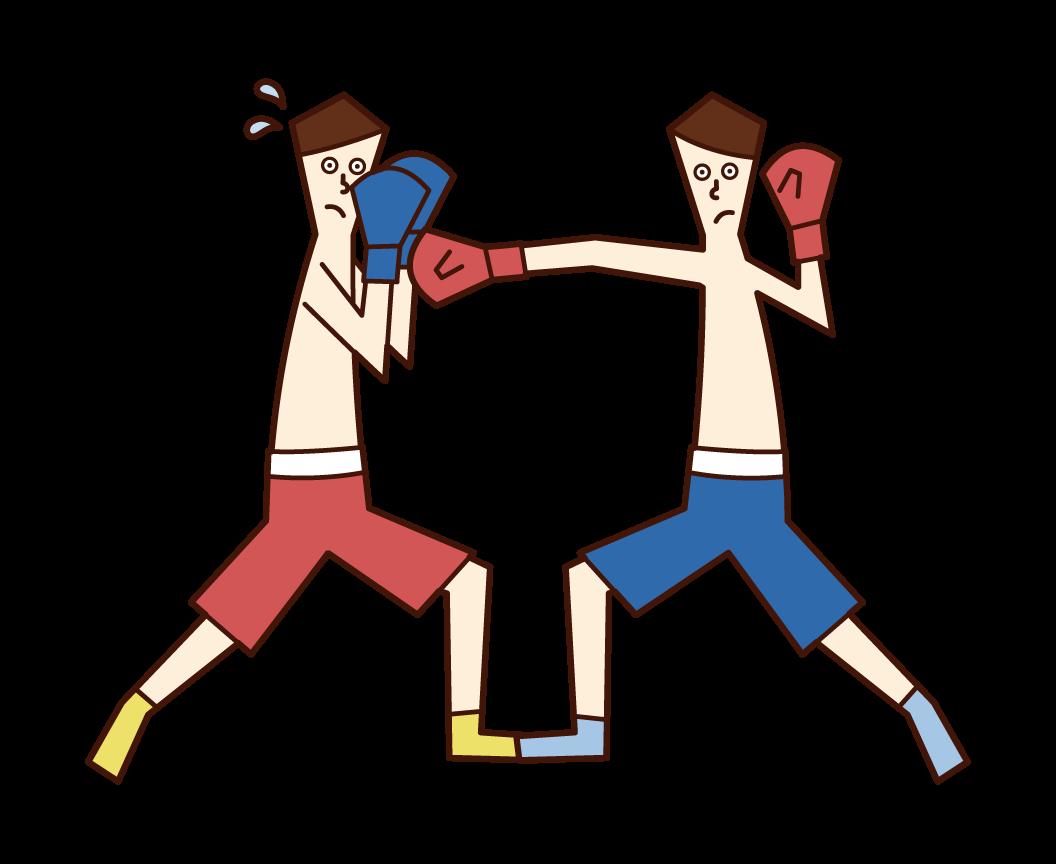 スパーリングをするボクシング選手(男性)のイラスト