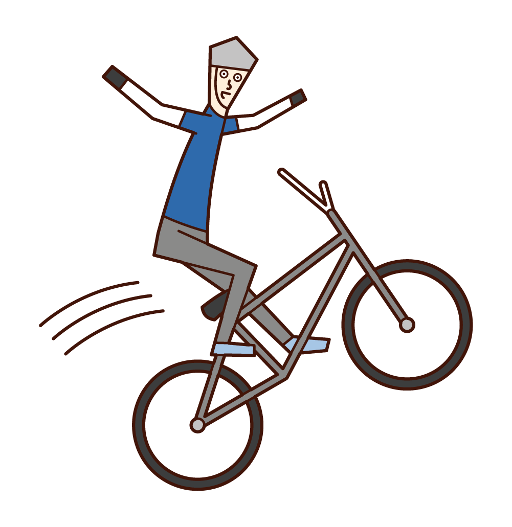 Illustration of bMX players (men) jumping with both sides