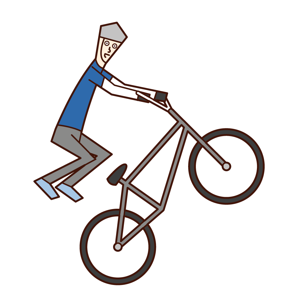 Illustration of a BMX player (man) jumping with his body floating in the air