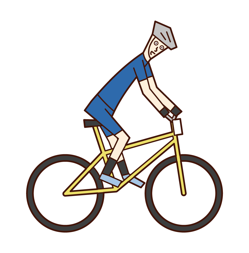 Illustration of a man on a mountain bike