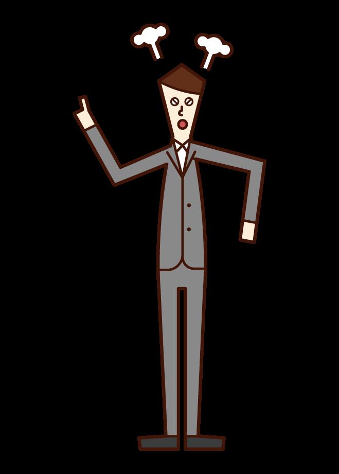 怒る人(スーツ姿の男性)のイラスト