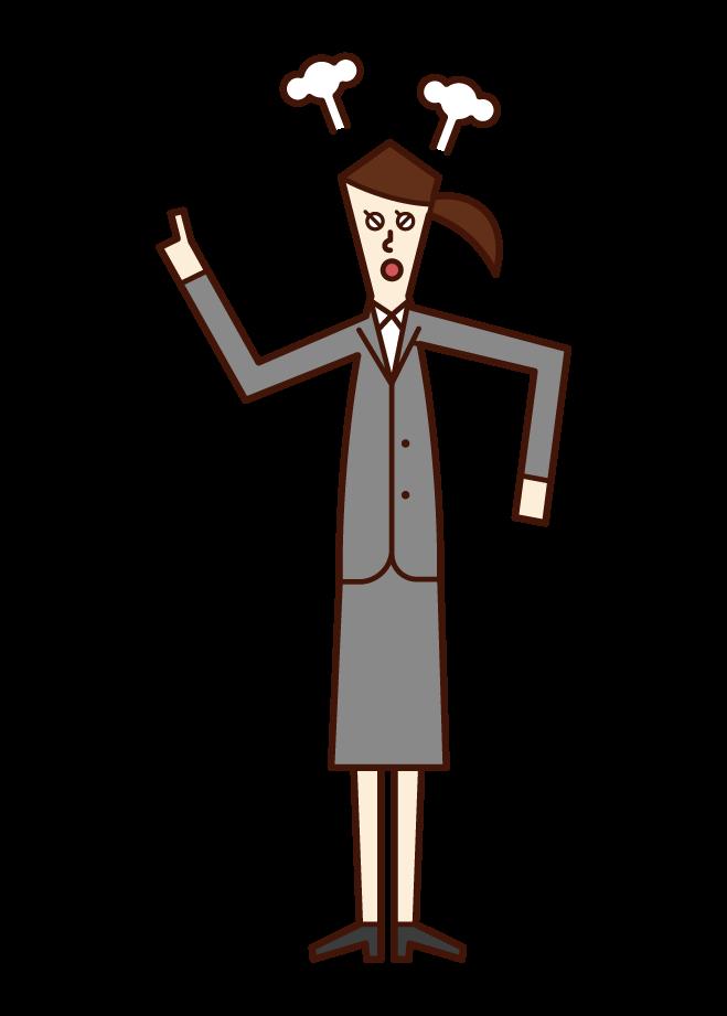 怒る人(スーツ姿の女性)のイラスト