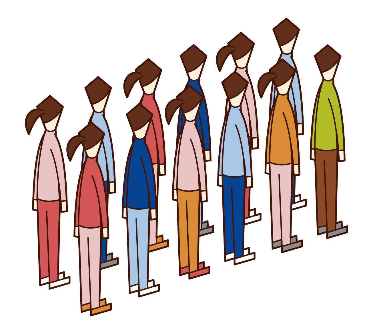 二列に並ぶ人のイラスト