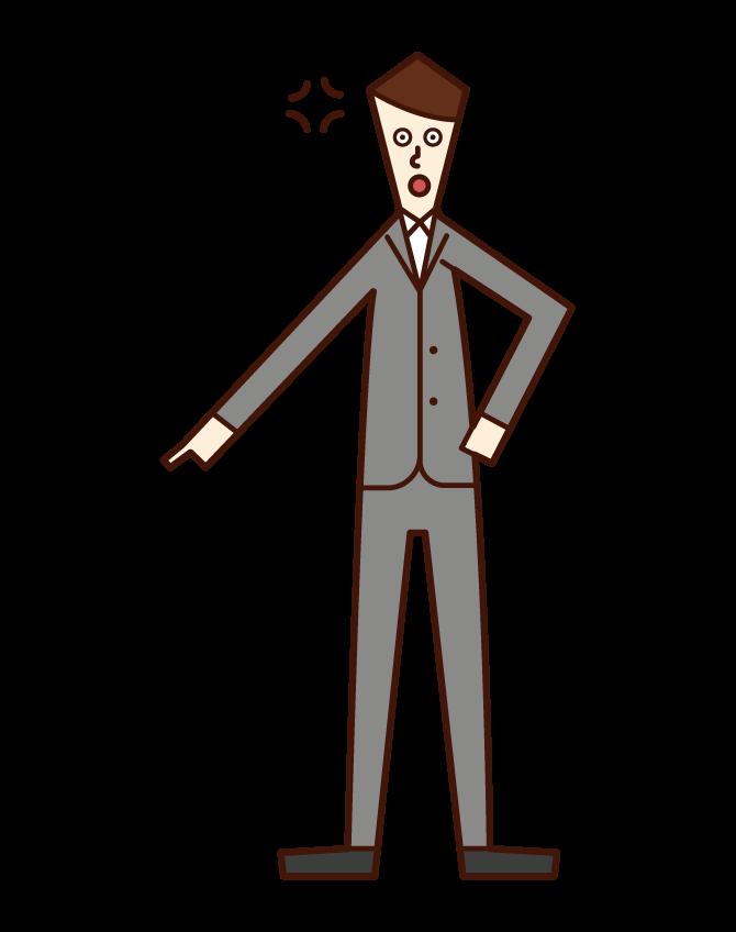 指を差して怒る人(男性)のイラスト