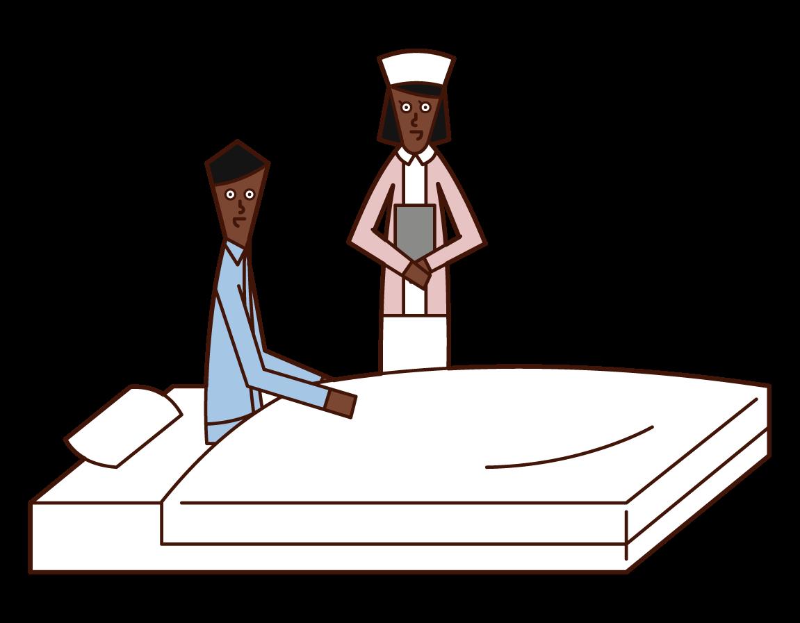 看護婦と話をする入院中の人(男性)のイラスト