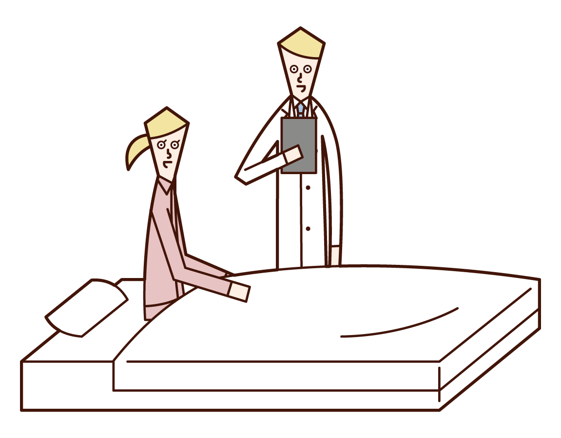 医師と話をする入院中の人(女性)のイラスト