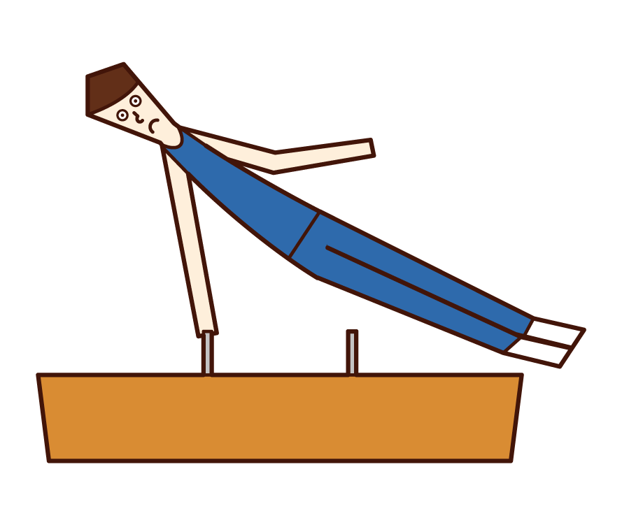 Illustration of a gymnast (man) doing an horse
