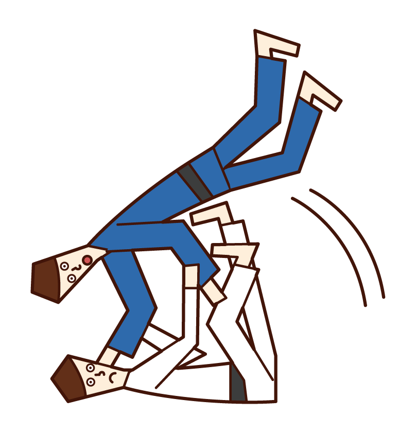 Illustration of a judo player (man) who throws a kite