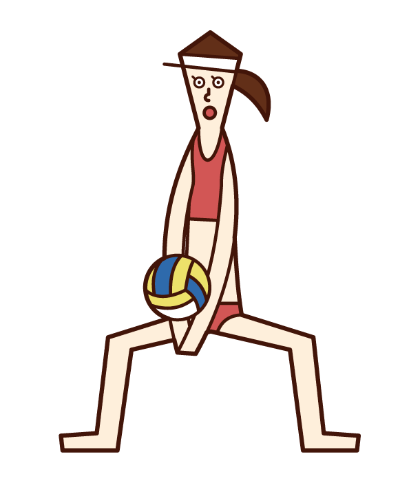 Illustration of a beach volleyball player (woman) doing a rechebing