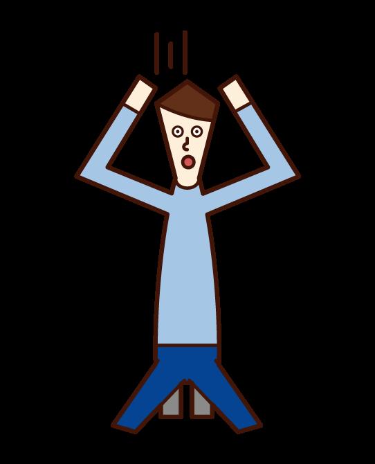 頭を抱えて絶望する人(男性)のイラスト