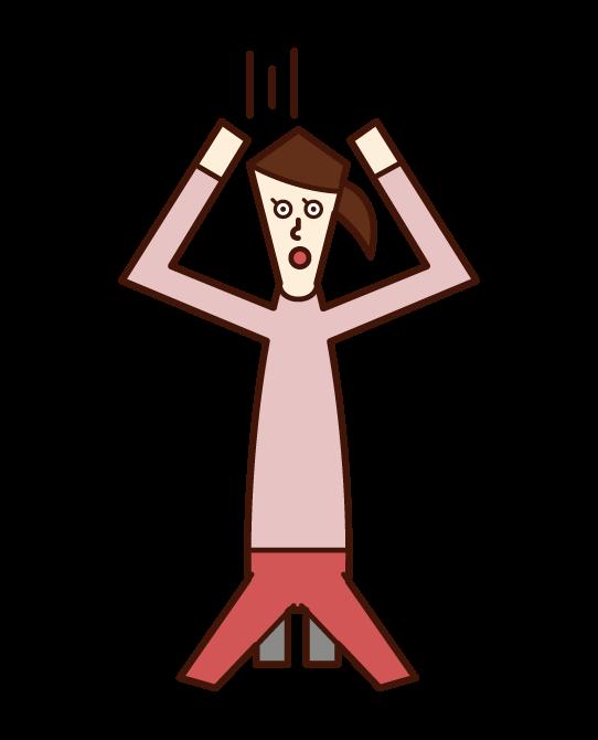 頭を抱えて絶望する人(女性)のイラスト