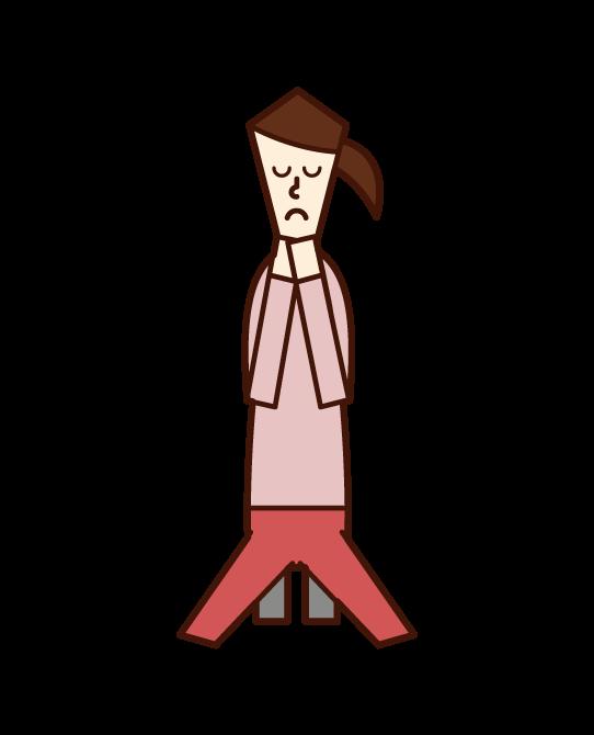 手を合わせて祈る人(女性)のイラスト