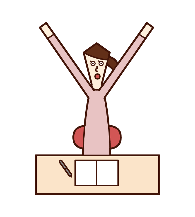Illustration of a woman who grows while studying
