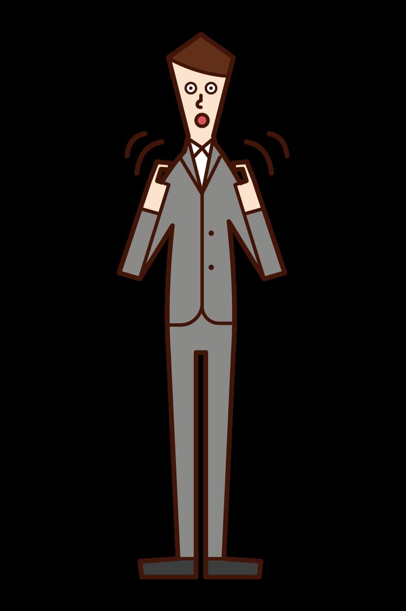 手語口譯員(男性)的插圖