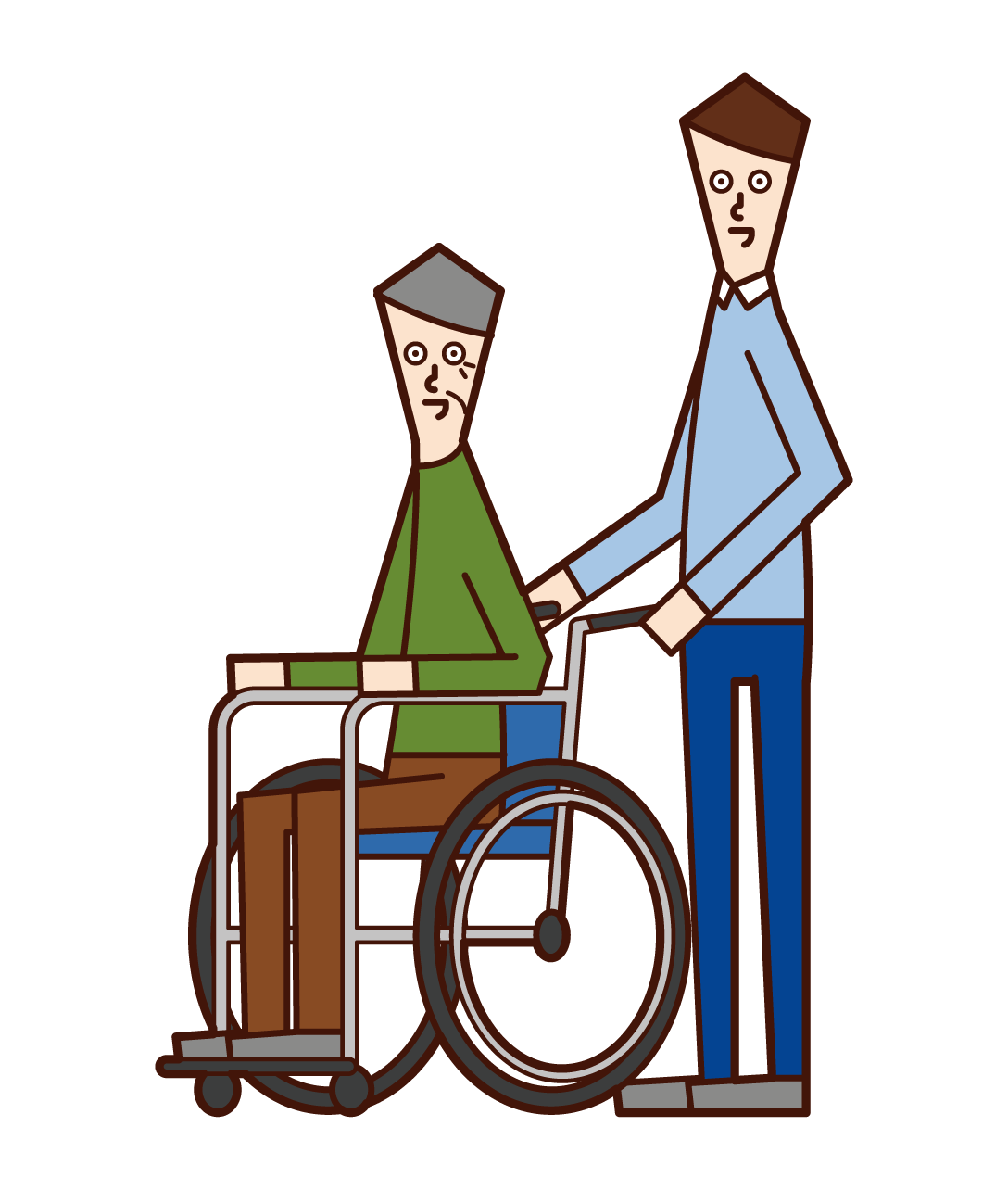Illustration of a home helper (man) pushing a wheelchair