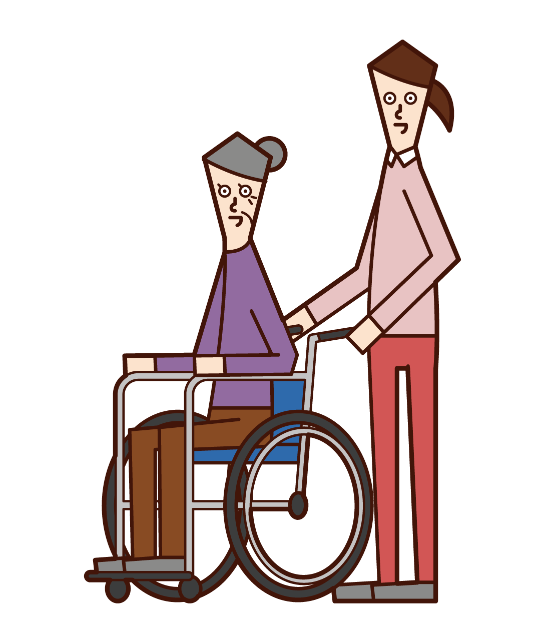 Illustration of a home helper (woman) pushing a wheelchair