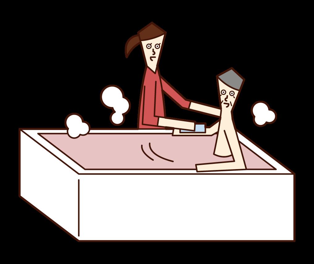 入浴の介助をするホームヘルパー(女性)のイラスト