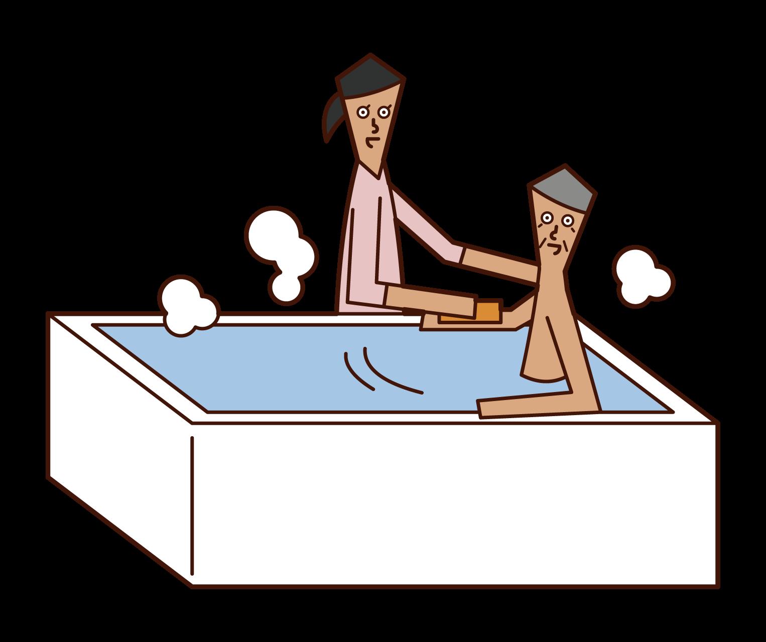 家庭傭工(婦女)的插圖,説明洗澡