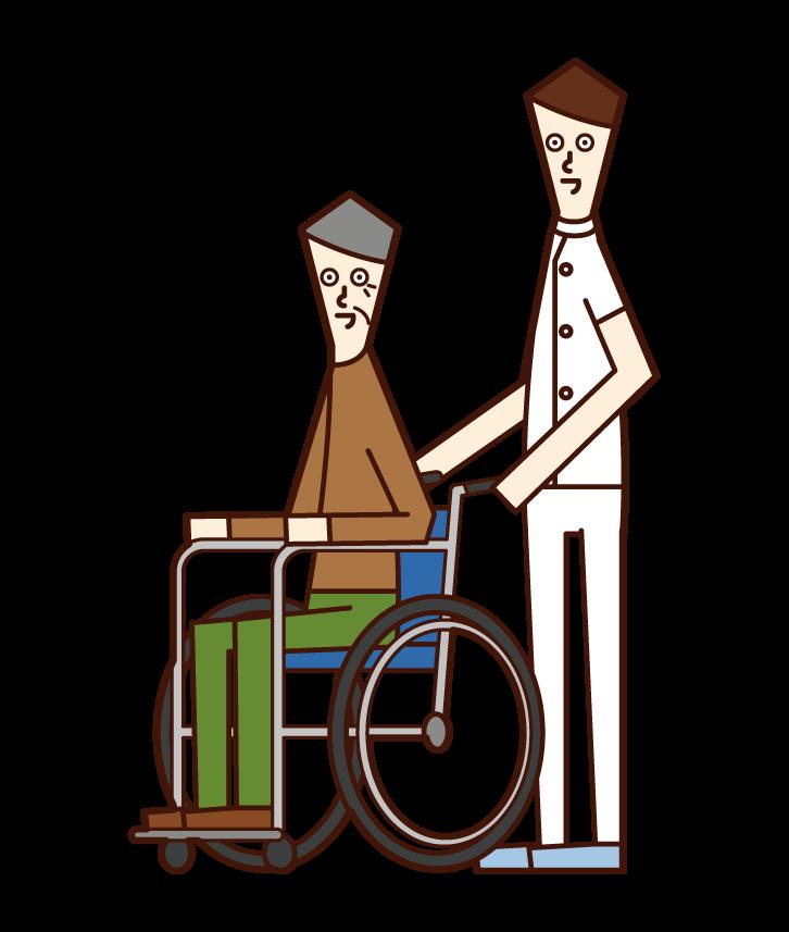 車椅子を推す介護福祉士(男性)のイラスト
