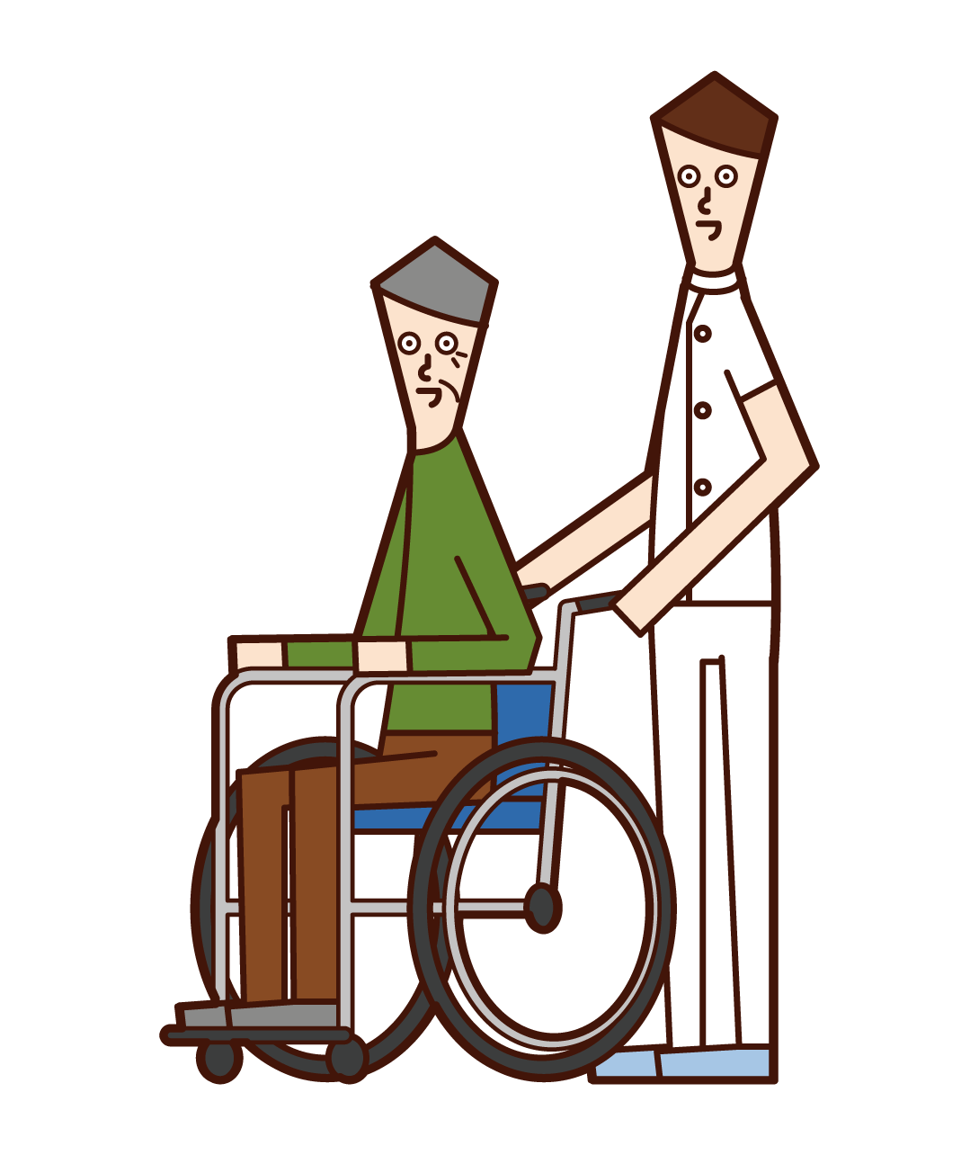 Illustration of a care worker (man) pushing a wheelchair