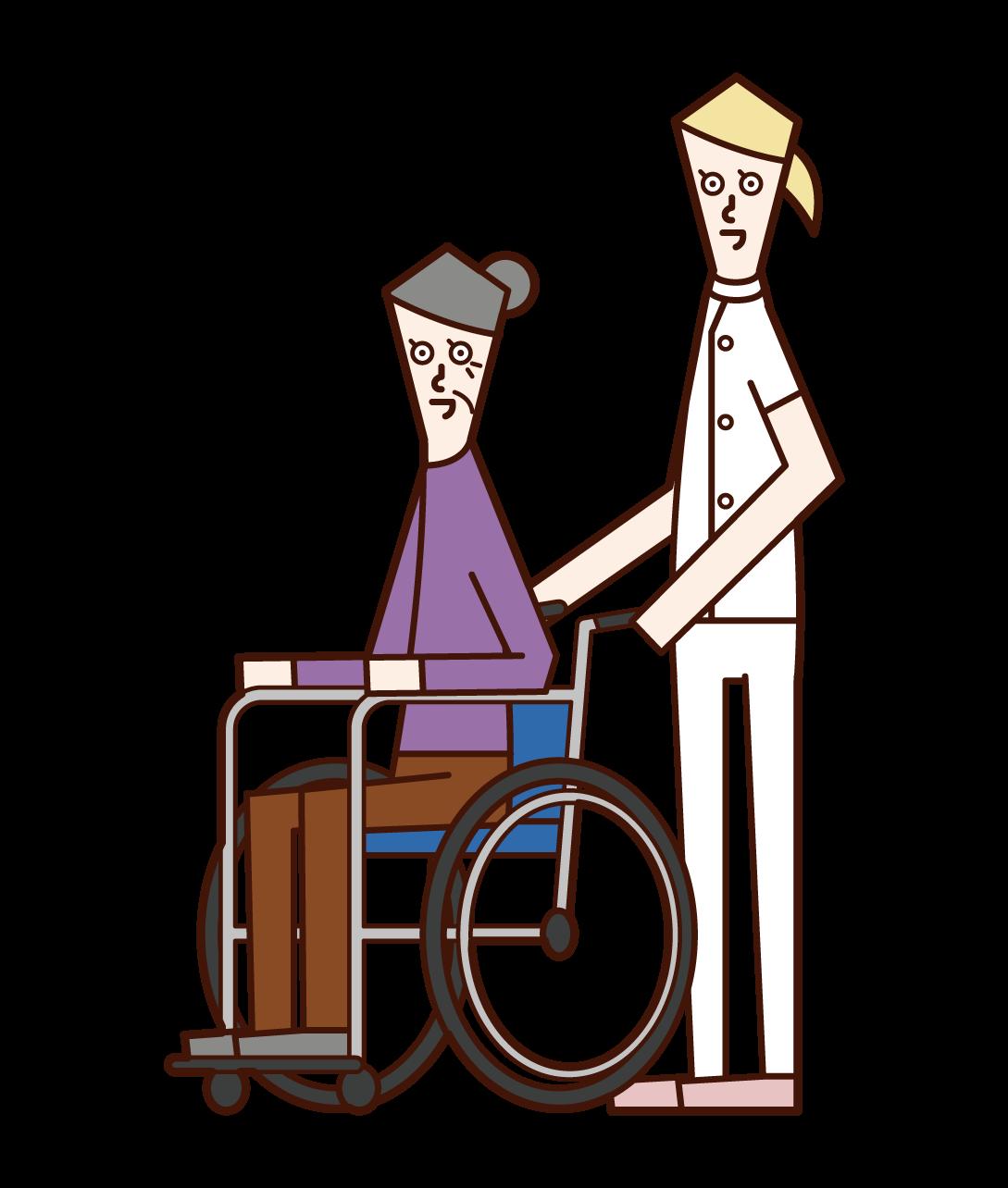 車椅子を推す介護福祉士(女性)のイラスト