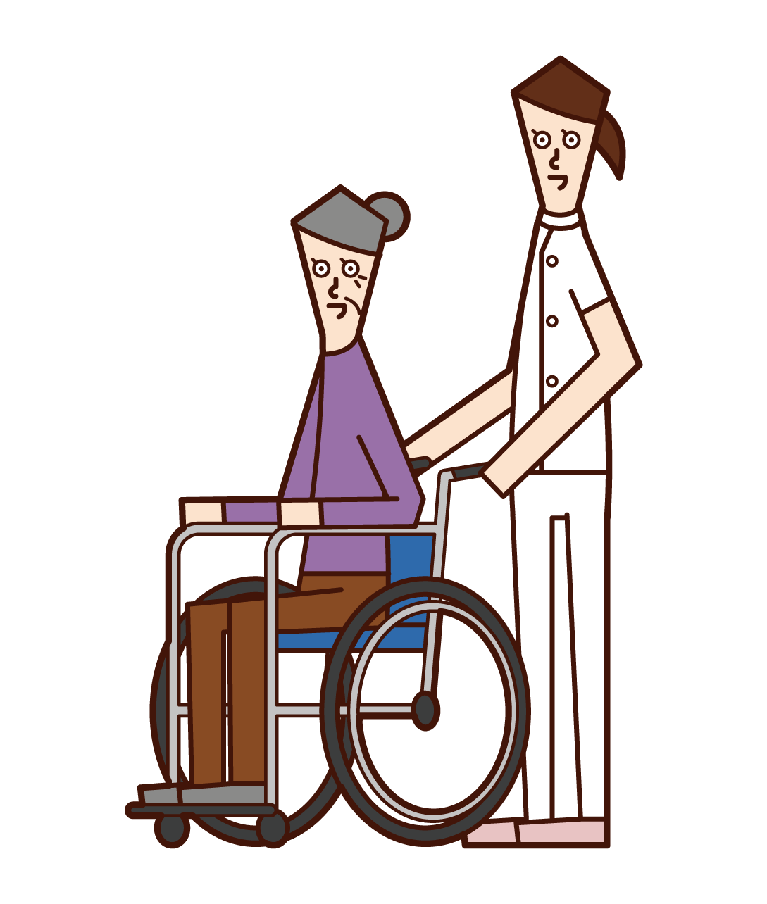 Illustration of a care worker (woman) pushing a wheelchair