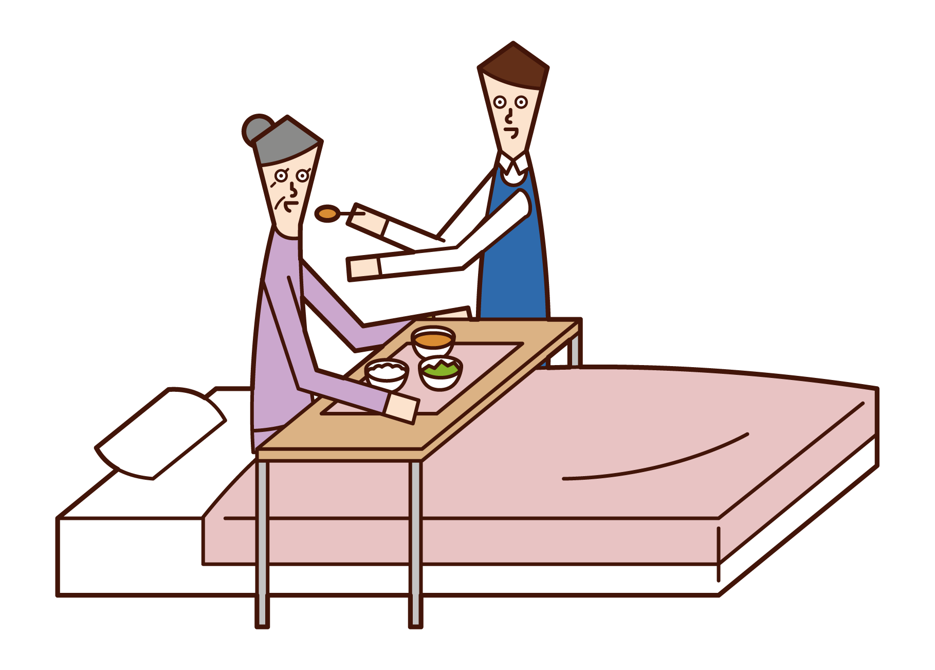 Illustration of a care worker (man) who assists with meals