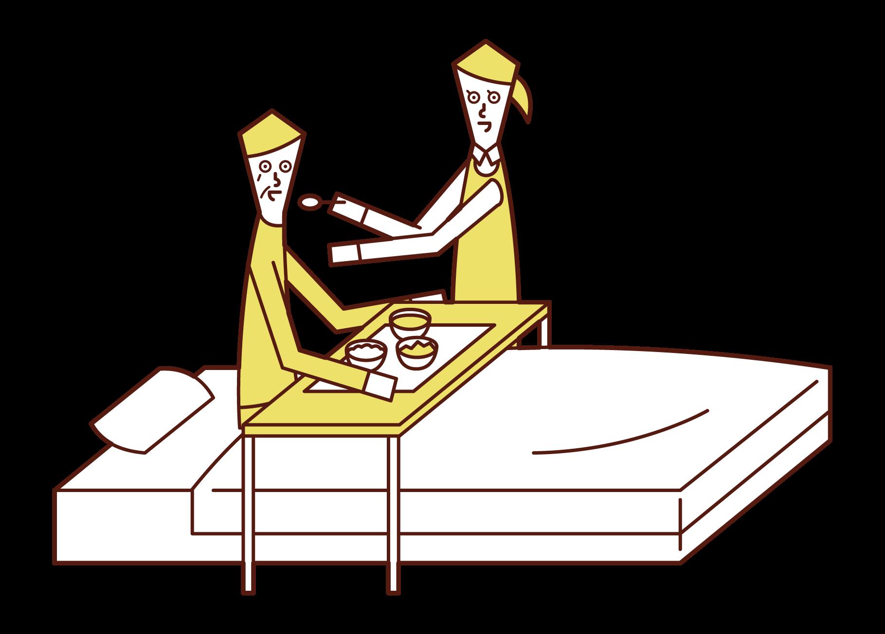 食事の介助をする介護福祉士(女性)のイラスト