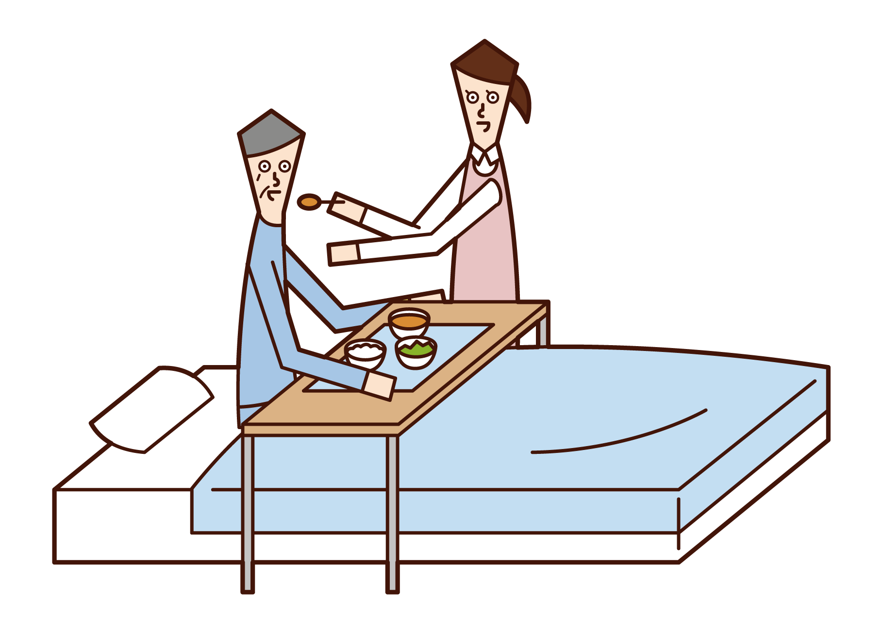 Illustration of a care worker (woman) who assists with meals
