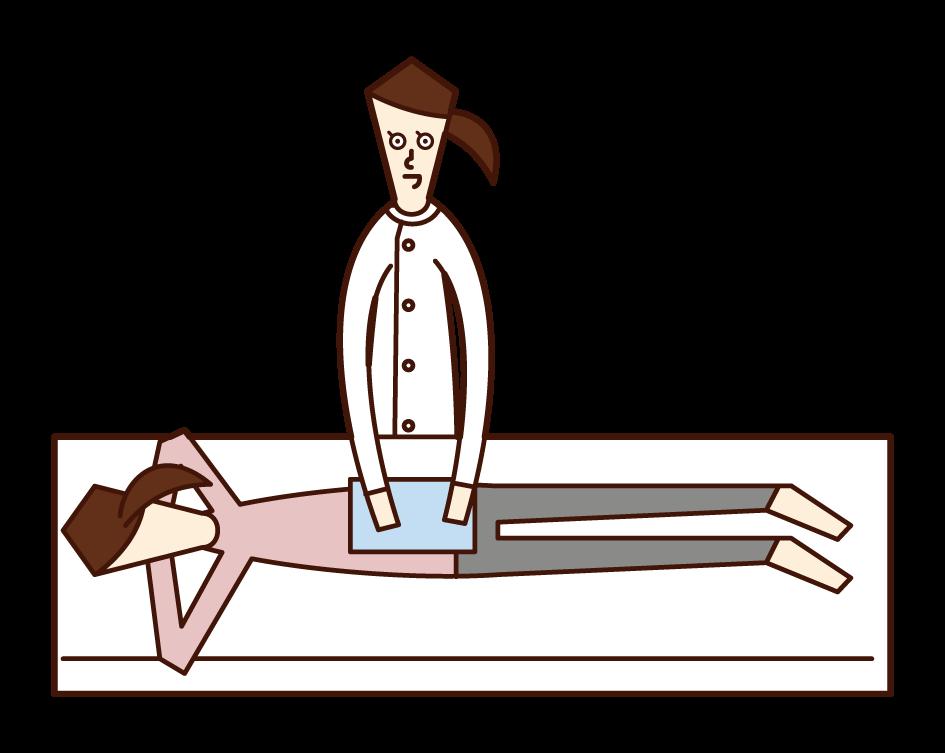 整体師・あん摩マッサージ指圧師・柔道整復師(女性)のイラスト