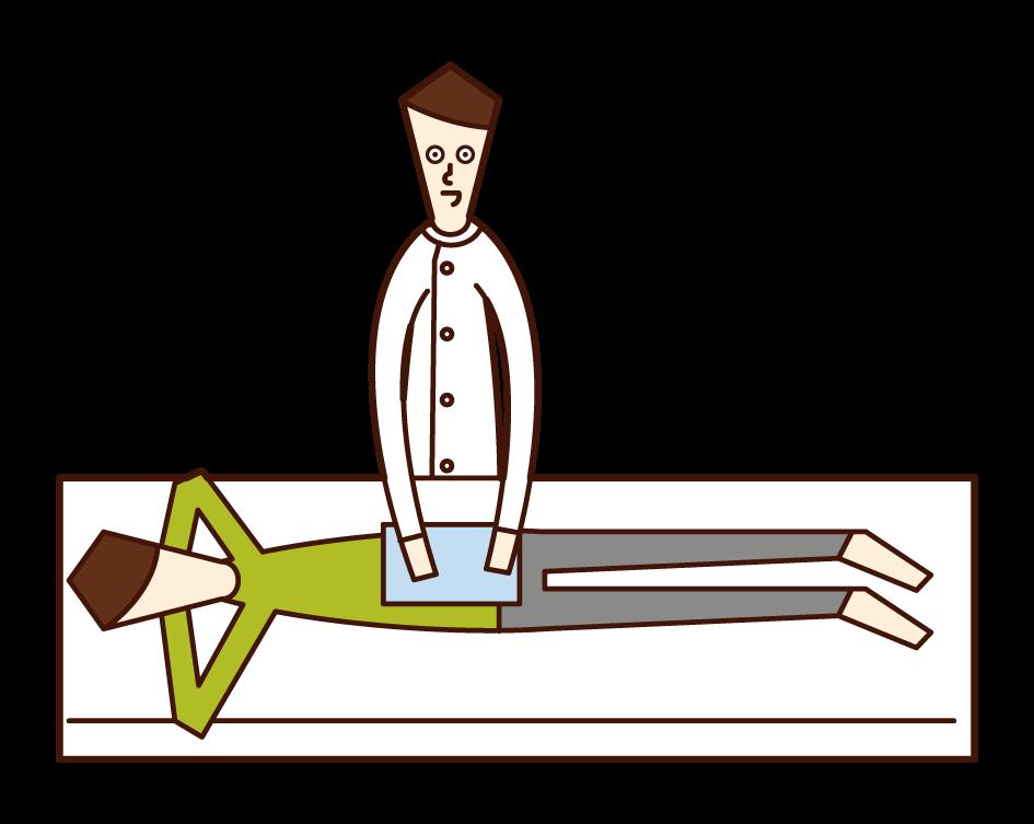 整体師・あん摩マッサージ指圧師・柔道整復師(男性)のイラスト