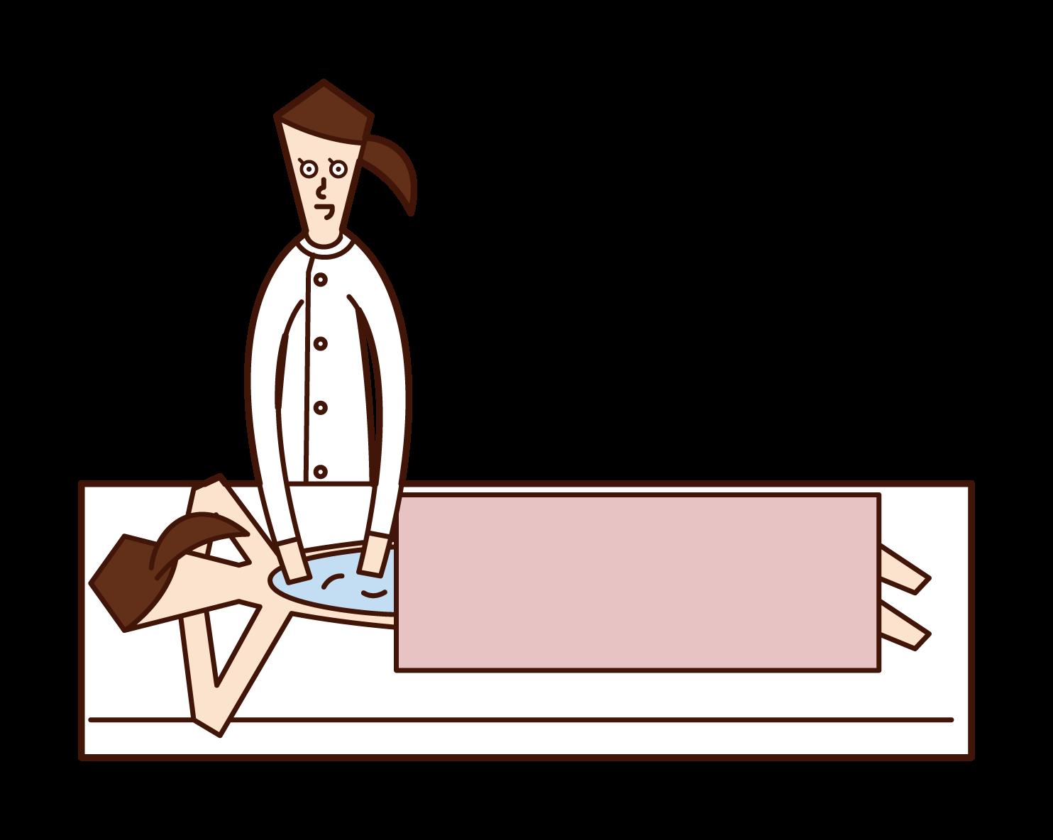 Illustration of a therapist (woman) doing oil massage