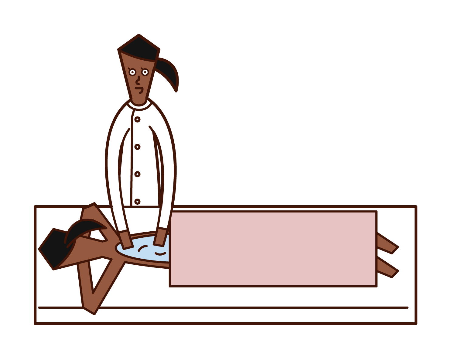 按摩治療師(女性)的插圖