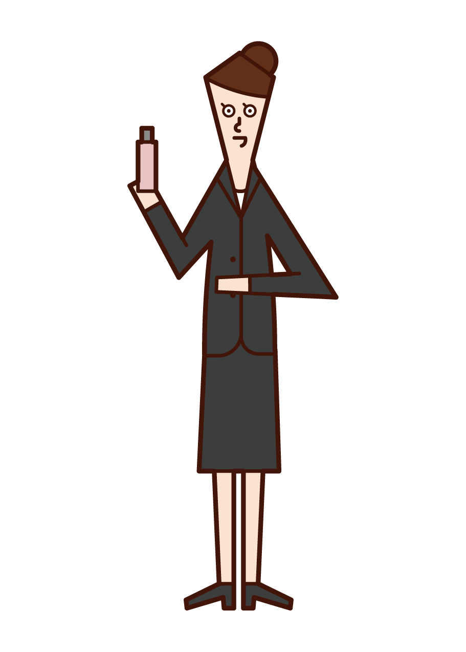 Illustration of a beauty club member (a woman in a suit)