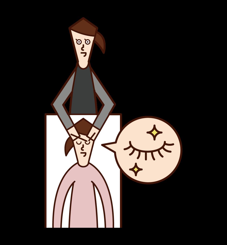 Illustration of the eyelist (woman)