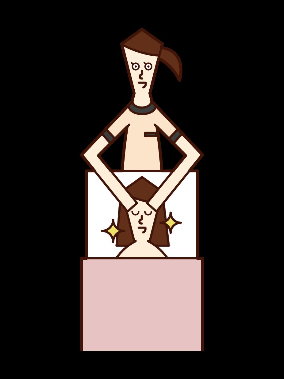 施術をするエステティシャン(女性)のイラスト