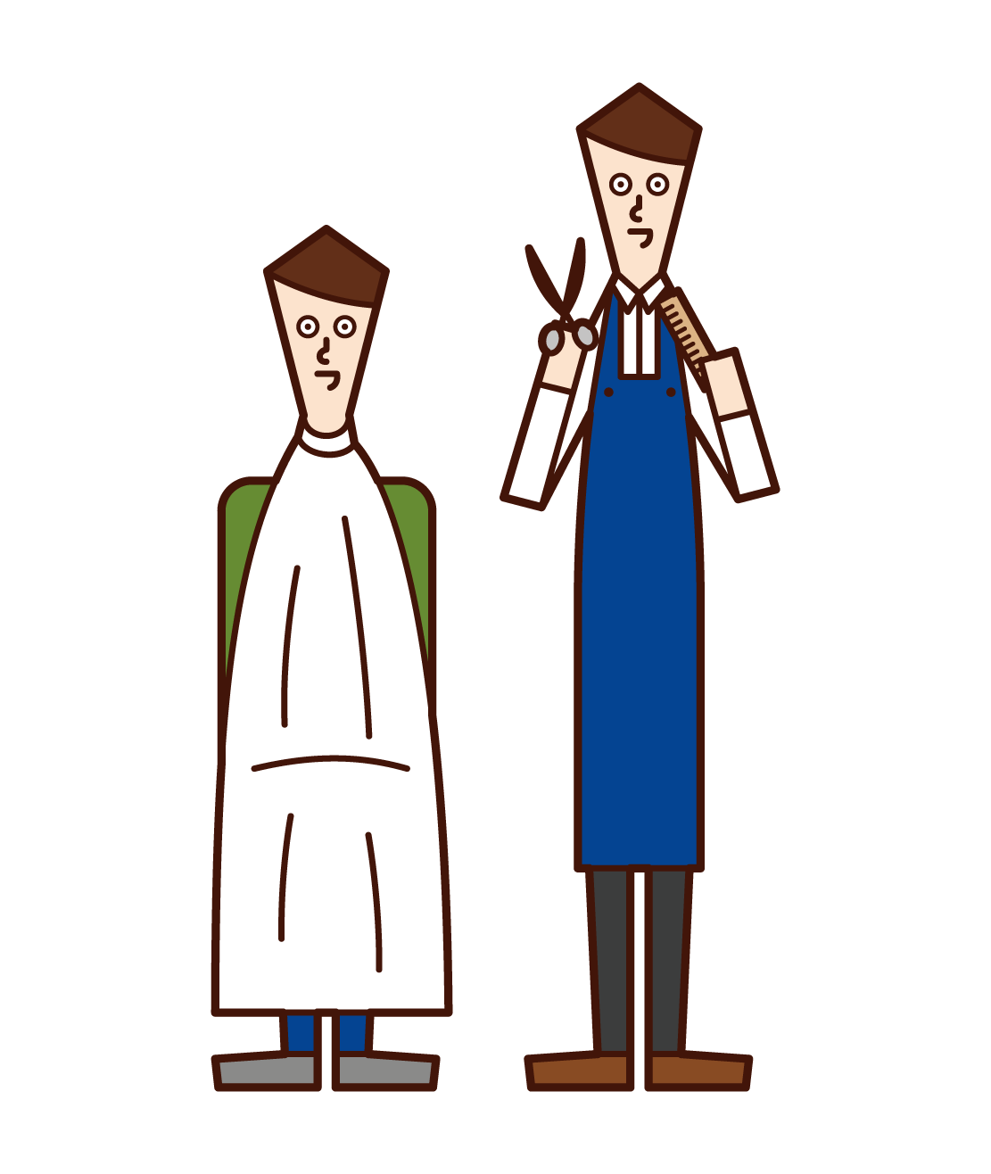 Illustration of a hairdresser (man) who cuts hair