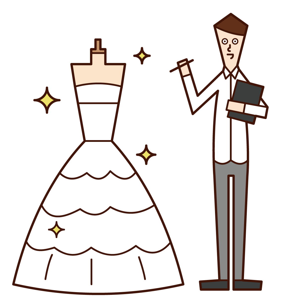 Illustration of a wedding dress designer (man)