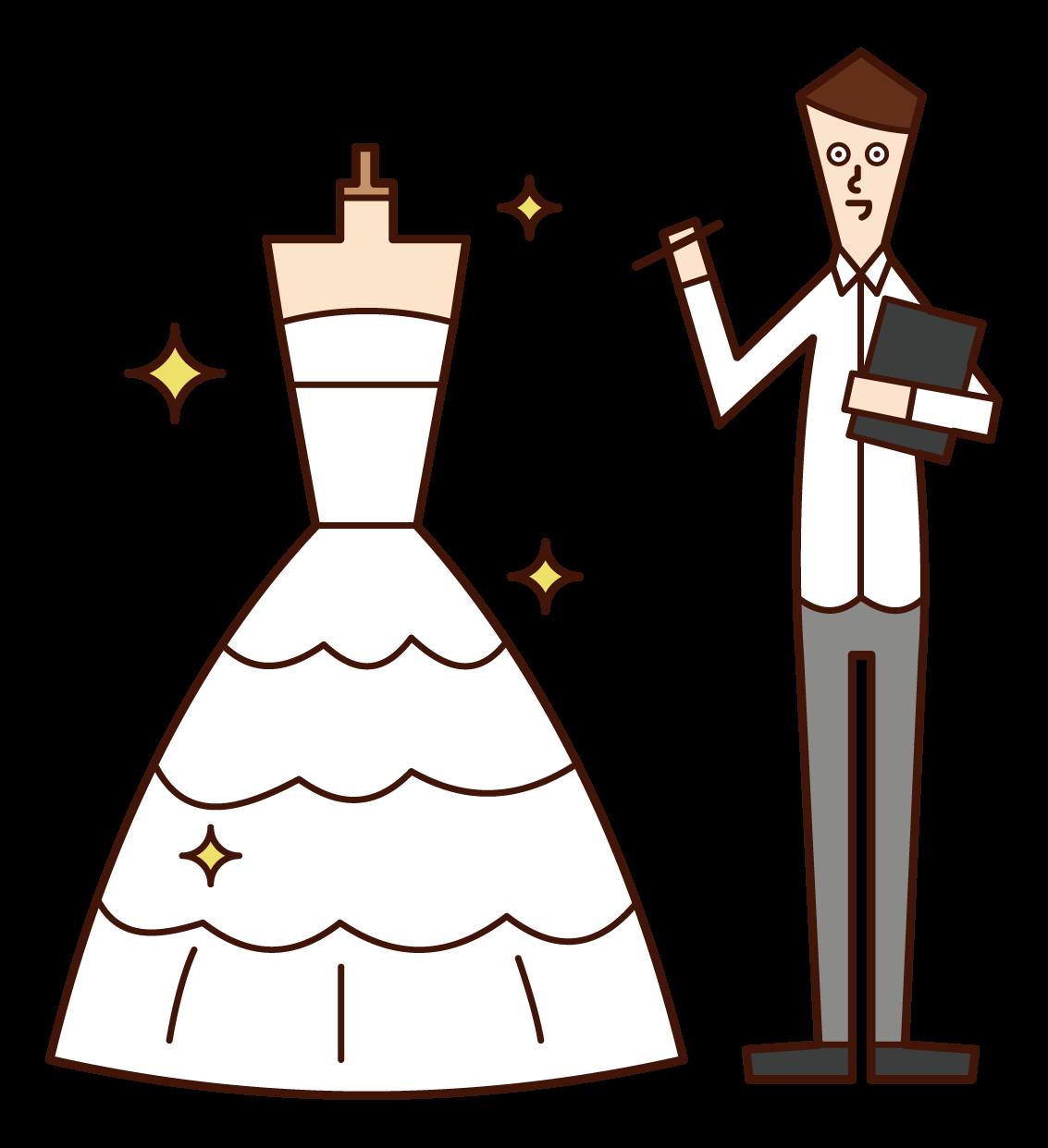웨딩 드레스 디자이너(남성)의 일러스트