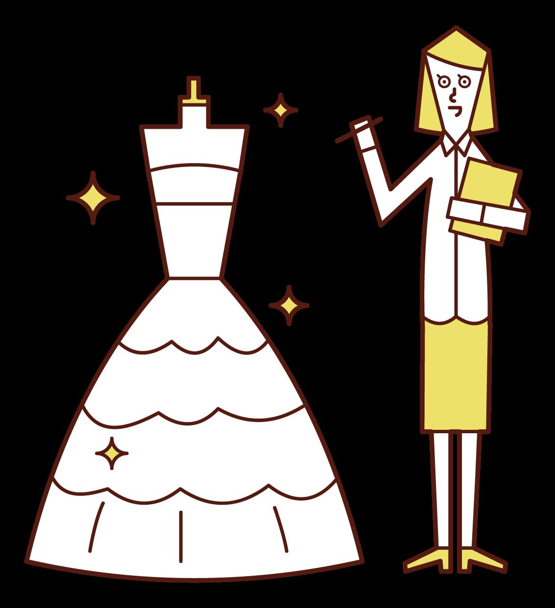 웨딩 드레스 디자이너(여성)의 일러스트