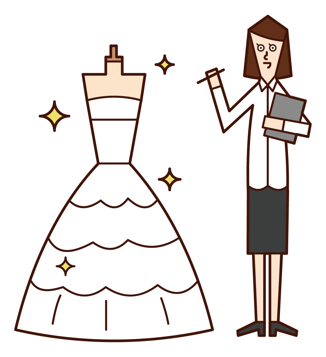 Illustration of a wedding dress designer (woman)