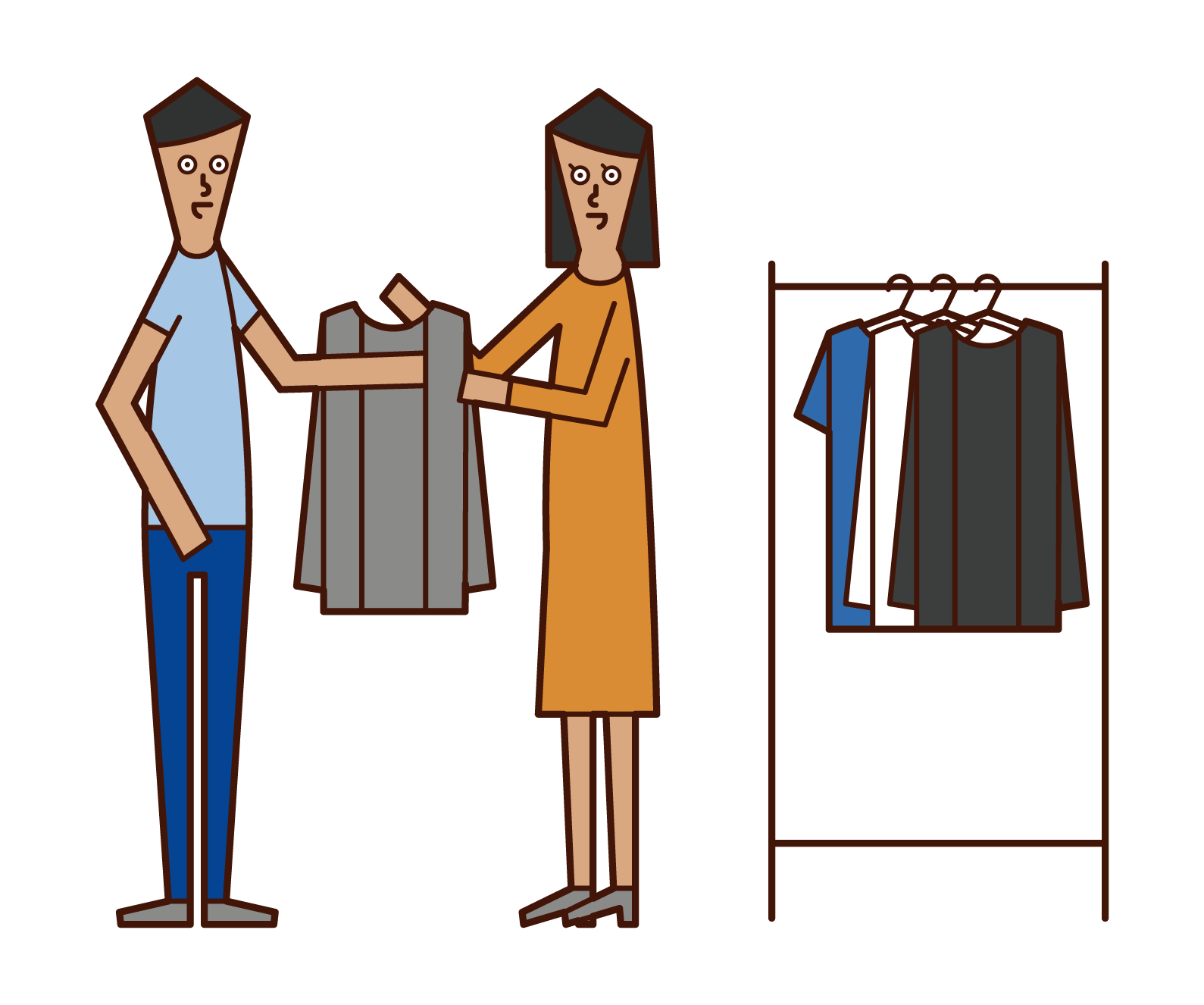 Illustration of stylist and apparel clerk (woman)